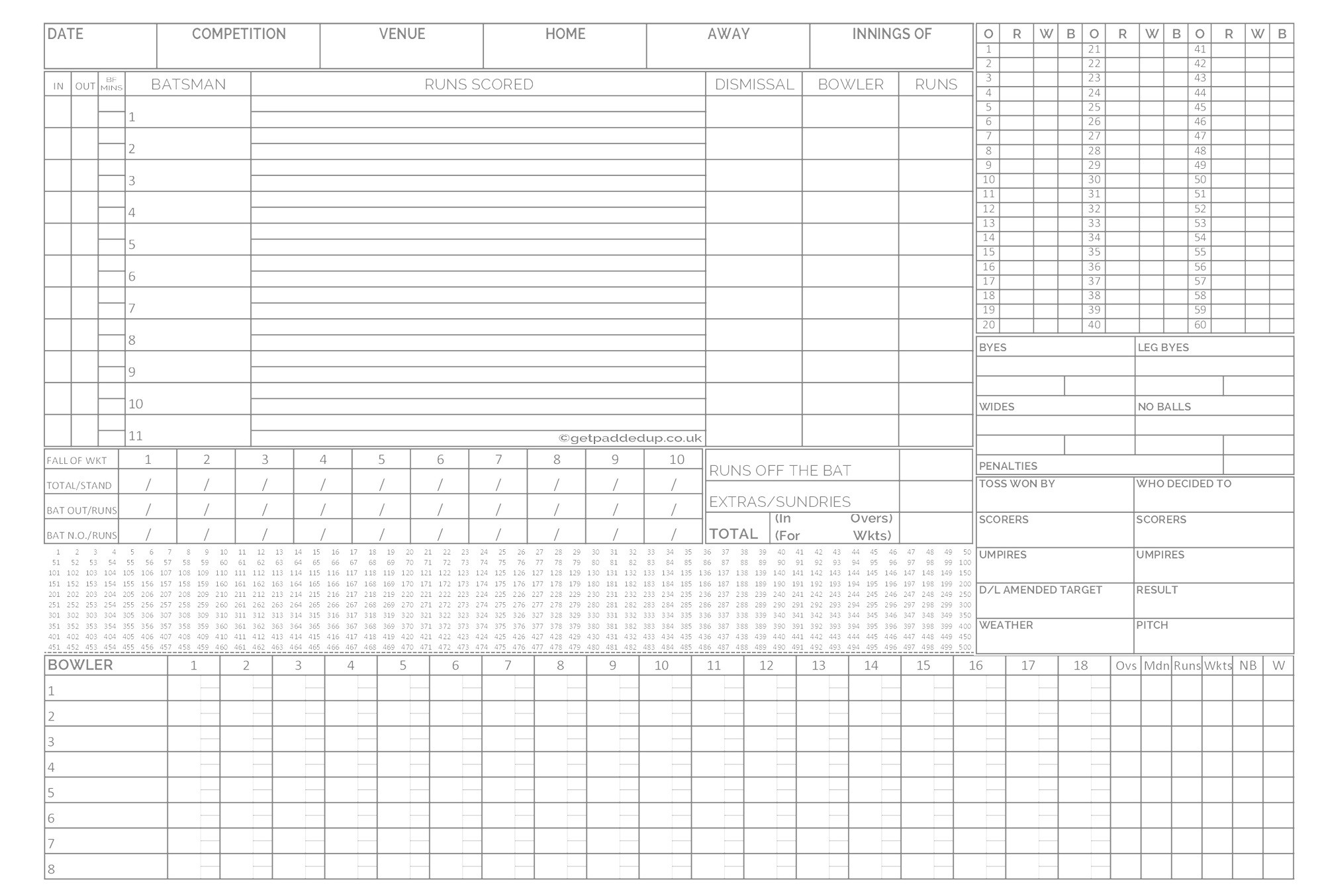 Ultra Cricket Scorebook (80 Innings)