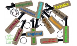 Plain or Personalised Mini Miniature Cricket Bat Key Ring Keyring