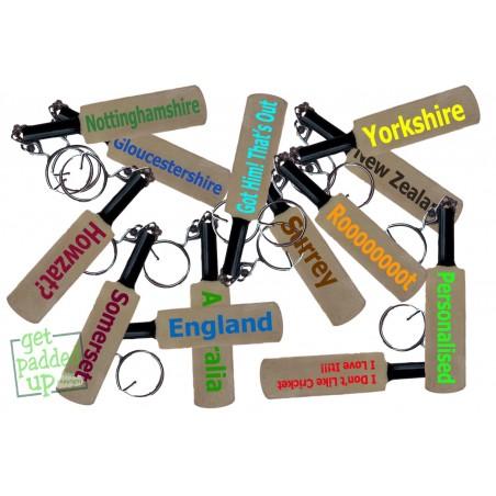 Plain or Personalised Mini Miniature Cricket Bat Key Ring Keyring