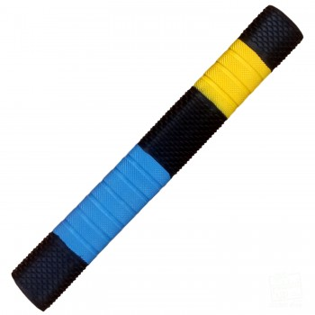 Black / Sky Blue / Yellow Penta Cricket Bat Grip