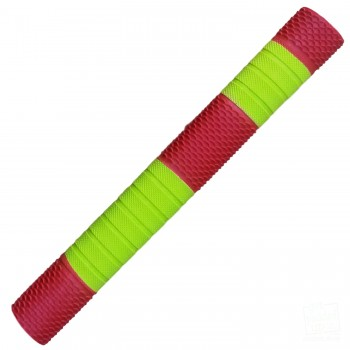 Neon Yellow and Red Penta Cricket Bat Grip