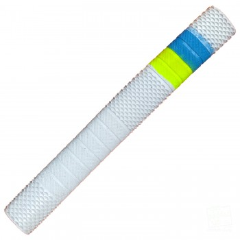 White / Neon Yellow / Sky Blue Penta Cricket Bat Grip