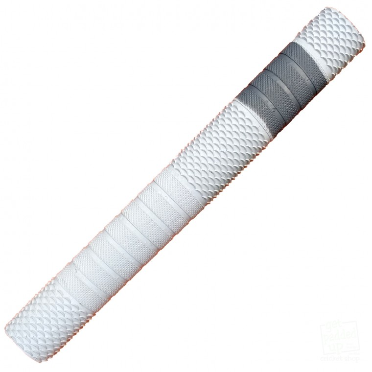 White with Silver Penta Cricket Bat Grip