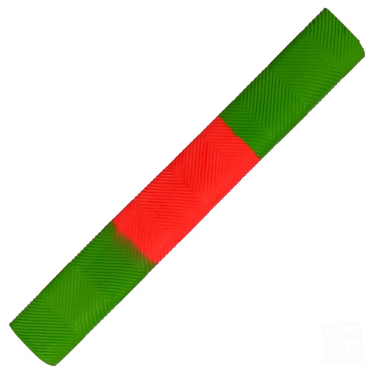 Lime Green and Red Chevron Cricket Bat Grip